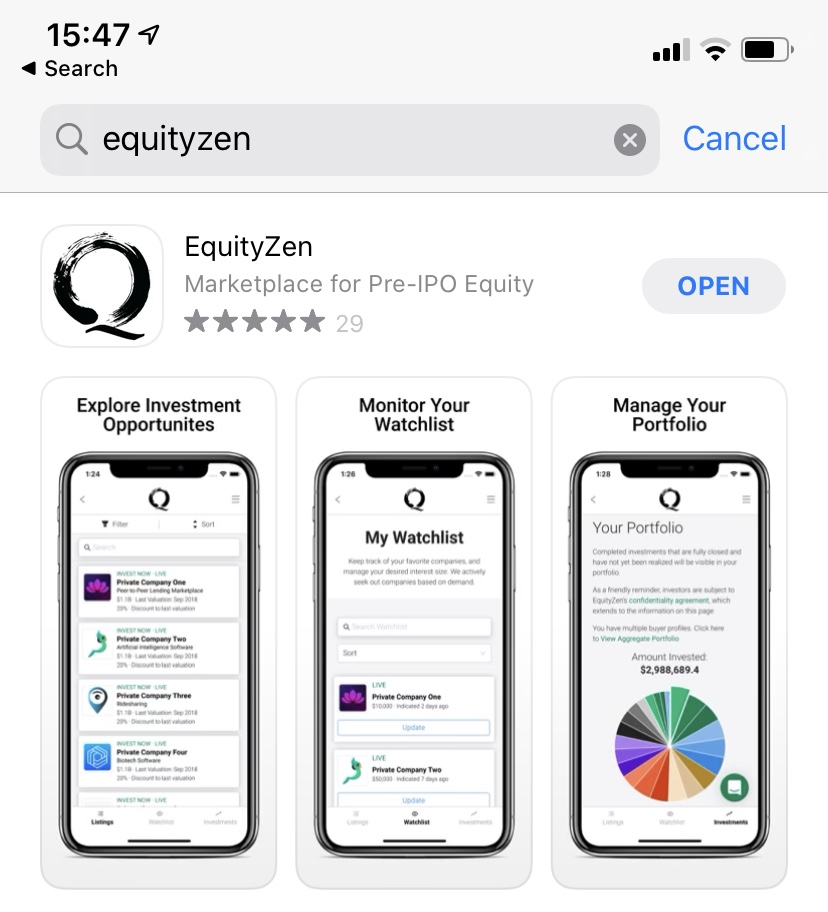 Introducing the EquityZen Mobile App